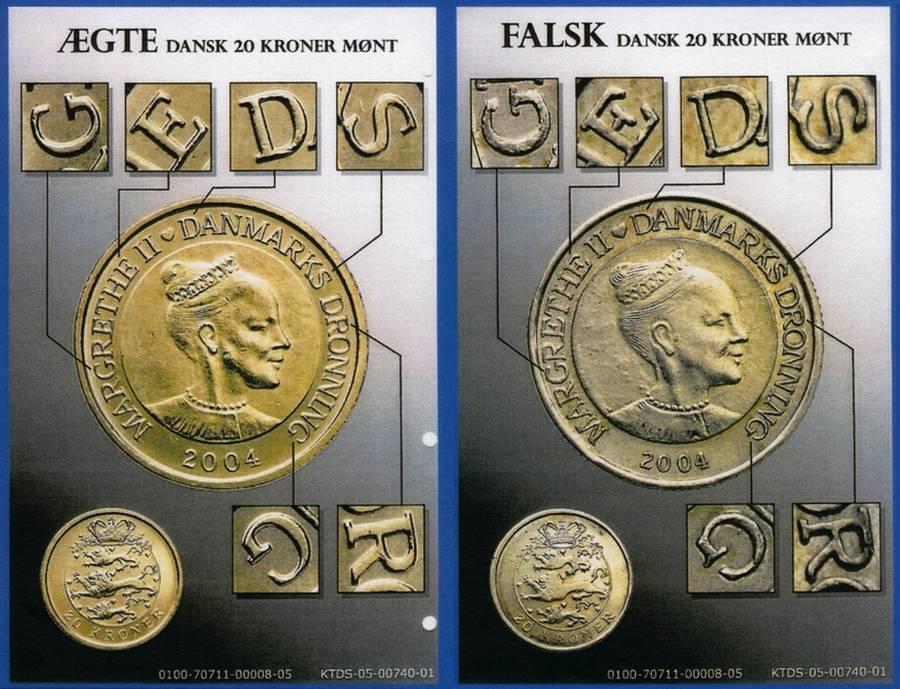 Nyeste Forfalskninger Af 2 5 10 Og Isaer 20 Kroner